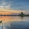 Red Skies Over Kinderdijk by Frans Blok