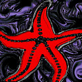 Red Starfish In Stormy Seas by Abstract Angel Artist Stephen K