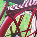Red Super Cruiser Bicycle by Charlene Cloutier