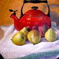 Red Teapot And Pears by Donelli  DiMaria