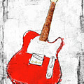 Red Telecaster Fine Art Illustration By Roly O by Roly O