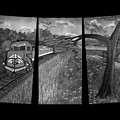 Red Train Passage In Black And White by Claude Beaulac