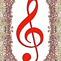 Red Treble Clef With Copper Border by Lise Winne