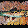 Red Trout Fresco by Lena  Owens OLena Art