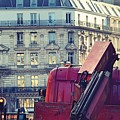 Red Truck In Paris Street by Valerie Dauce