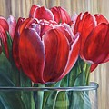 Red Tulips, Glass Rim by Rosanne Wolfe