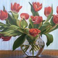 Red Tulips, Glass Vase by Rosanne Wolfe