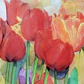 Watercolor Of Blooming Red Tulips In Spring by Greta Corens