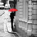 Red Umbrella In London by Erin Donalson