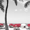 Red Umbrellas On Waikiki Beach Hawaii by Kerri Ligatich