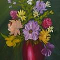 Red Vase Still Life by Sally Jones