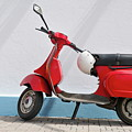 Red Vespa Scooter By Wall by Sami Sarkis