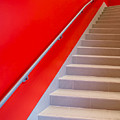 Red Walls Staircase by Edward Fielding
