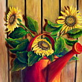 Red Watering Can With  Sunflowers.  Sold by Susan Dehlinger