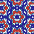 Red White And Blue Star Flowers 1- Pattern Art By Linda Woods by Linda Woods