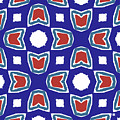 Red White And Blue Tulips Pattern- Art By Linda Woods by Linda Woods