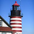 Red White Striped Lighthouse by Alana Ranney