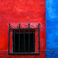Red Window With Blue By Darian Day by Mexicolors Art Photography