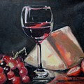 Red Wine Cheese Grapes Strawberries Still Life by Donna Tuten