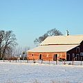 Red Winter Barn by Bonfire Photography