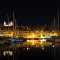 Reflecting On Malta - Senglea Golden Night Magic by Georgia Mizuleva