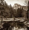 Reflecting Yosemite Half Dome Skies - Sepia Edition by Gregory Ballos