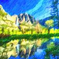 Reflection In Merced River Of Yosemite Waterfalls by Jeelan Clark
