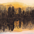 Reflections At Sunset On Bitely Lake by Conni Schaftenaar