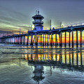 Reflections From Afar Huntington Beach Pier Sunset Los Angeles Collection Art by Reid Callaway