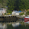 Reflections Of A Lobster Boat  Dock And Traps by Mark Emmerson