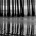Reflections Under The Pier - Pismo Beach California Bw by Gregory Ballos