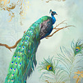 Regal Peacock 1 On Tree Branch W Feathers Gold Leaf by Audrey Jeanne Roberts