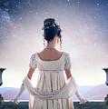 Regency Woman Looking At The Stars In The Night Sky  by Lee Avison