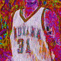 Reggie Miller Nba Basketball Indiana Pacers Painted Digitally by David Haskett II
