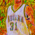 Reggie Miller Nba Indiana Pacers Basketball Digitally Painted by David Haskett II