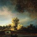 Rembrandt Landscape Paintings - The Stone Bridge by Rembrandt
