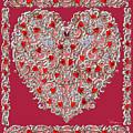 Renaissance Style Heart With Dark Red Background by Lise Winne