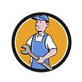 Repairman Holding Spanner Circle Cartoon  by Aloysius Patrimonio