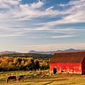 Red Barn Autumn Landscape by Alan L Graham
