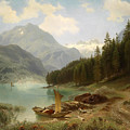 Resting By The Mountain Lake by August Friedrich Kessler