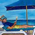 Resting Reading Lawn Chair Man Reviews Newspaper Beach Front Vacation Summer Scene Carole Spandau    by Carole Spandau