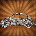 Retro Beetle Car by Bekim Art