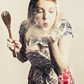 Retro Cooking Woman Giving Recipe Kiss by Jorgo Photography - Wall Art Gallery
