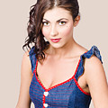 Retro Pin-up Girl In Blue Denim Dress by Jorgo Photography - Wall Art Gallery