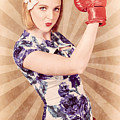 Retro Pinup Boxing Girl Fist Pumping Glove Hand  by Jorgo Photography - Wall Art Gallery