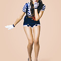 Retro Pinup Girl Blowing Travelling Departure Kiss by Jorgo Photography - Wall Art Gallery