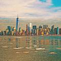 Retro Style Skyline Of New York City, United States by Anthony Murphy