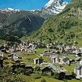 Retro Swiss Travel Zermatt And Mount Matterhorn  by Heidi De Leeuw