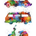 Retro Wheels Watercolor by Bekim Art