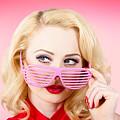 Retro Woman Model Wearing Summer Sun Glasses by Jorgo Photography - Wall Art Gallery